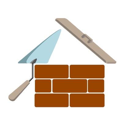 bricklayer: edificio de dise�o creativo de vector de s�mbolo de casa