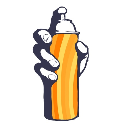 hiphop: Graffiti spray can hip hop vector icon