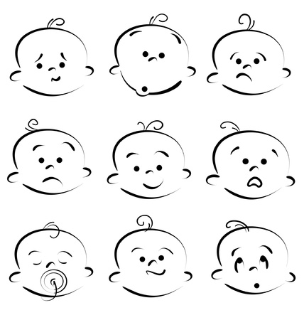 facial expression: baby child face icons