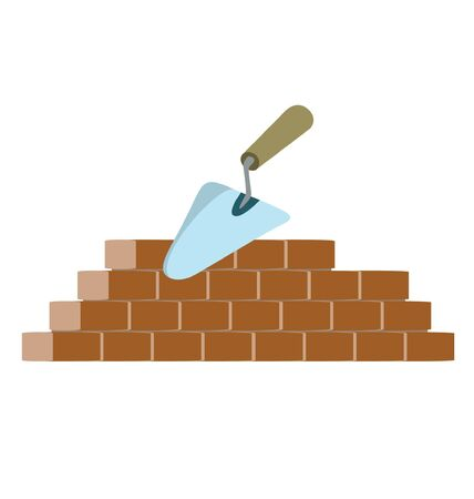 bricklayer: trowel and bricks on building