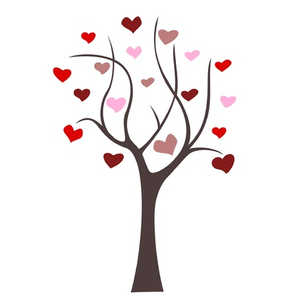 wedding symbol: Tree love concept. Valentine day or wedding vector design