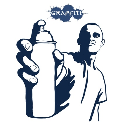hip hop dance: Hip hop graffiti spray can