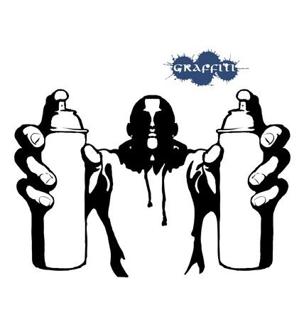 ghetto: Graffiti hip hop vettore persona con bomboletta spray Vettoriali