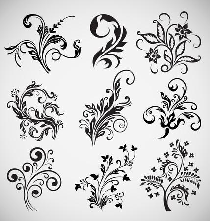filigree: bloem ornament vector