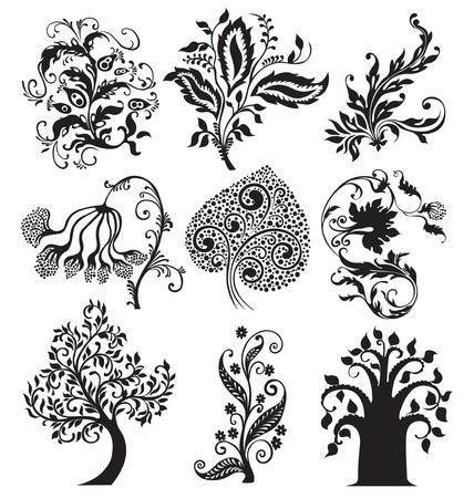 black  tattoo: Flower tattoo vintage design. Floral decoration elements Illustration