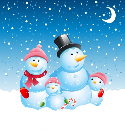 christmas snowman family  Stock Vector - 10513367
