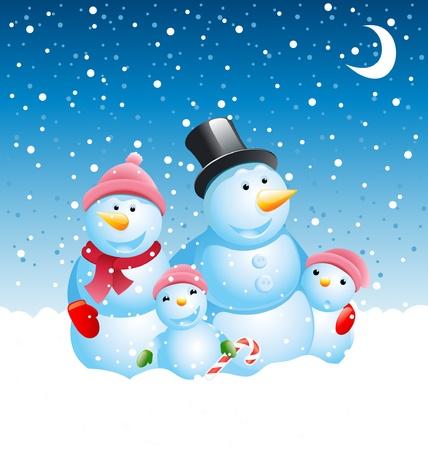bonhomme de neige: famille de Bonhomme de neige de Noël  Illustration