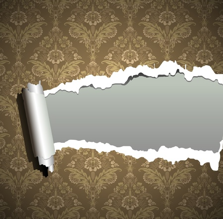 Frame wallpaper torn, vintage baroque background Vector
