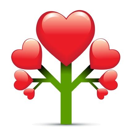 single color image: heart tree love design Illustration