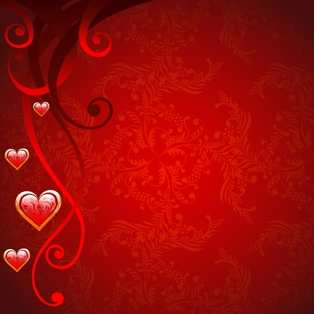flores: love red background with floral elements and hearts, valentine Illustration