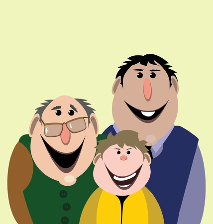 sons: grandfather, father and son Illustration