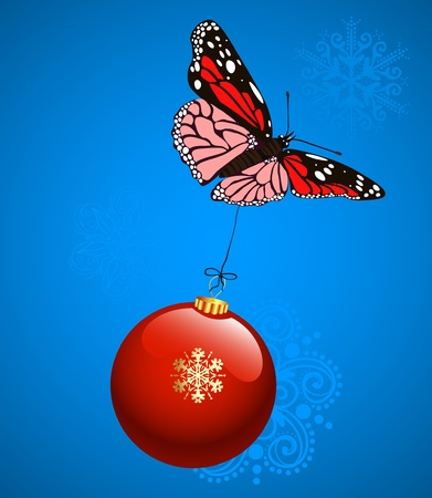 Christmas background, butterfly flying with Christmas ball  Vector