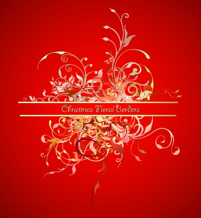 Decoration borders with curled flowers. Celebration Christmas background  Vector