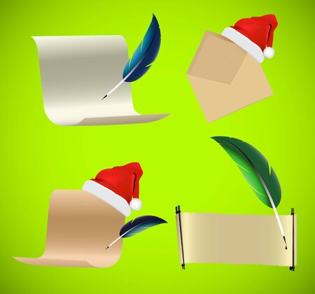 Christmas scrolls paper icons backgrounds Vector