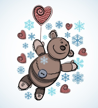 Christmas card design. Teddy toy with snowflakes Vector