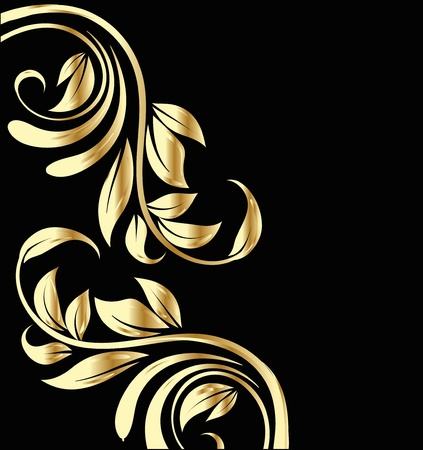 floral ornaments: Wedding gold flowers background design