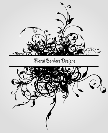 Grunge fashion flowers. Vintage floral vector border design Vector