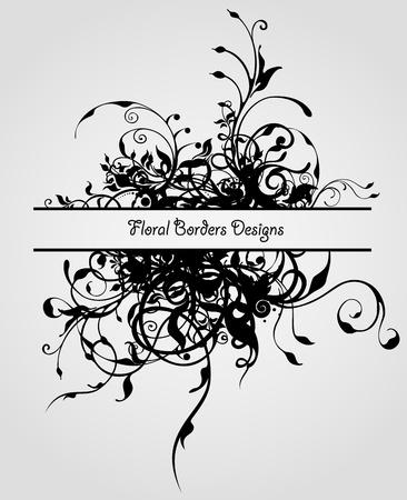 Grunge fashion flowers. Vintage floral vector border design
