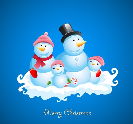 Christmas vector background. Happy snowman Vector
