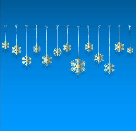 natale: Christmas background. Golden snowflakes