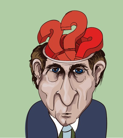 office politics: Conceptual vector illustration. Adult businessman and question marks inside his head. Choice problems  Illustration