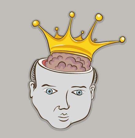 tonto: Creativo concepto gráfico ilustración vectorial. Persona cerebro inteligente