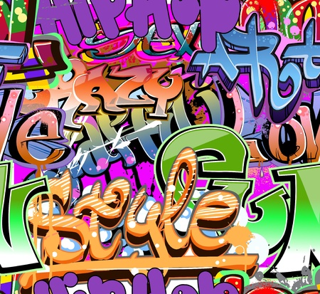 Graffiti wall urban hip hop background  Vector