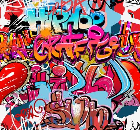 Graffiti mura urbane hip hop sfondo Vettoriali