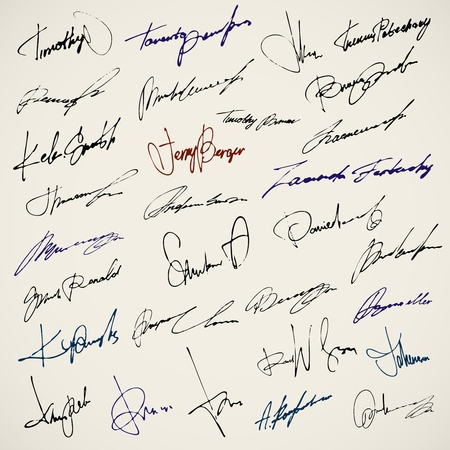 contracts: Personal signature. Set of autographs