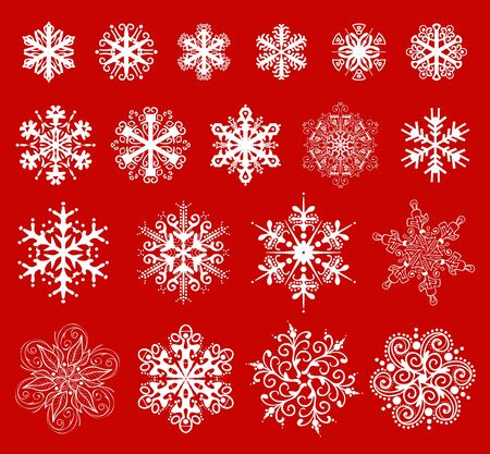 snow crystals: christmas snowflakes icon collection
