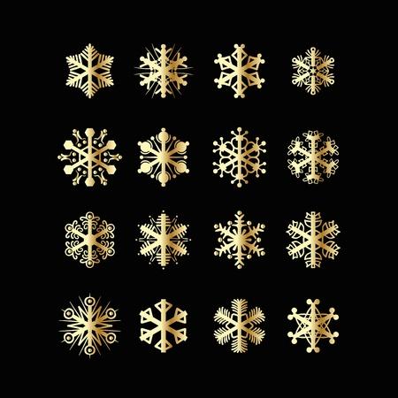 gold decorations: Copo de nieve Decoraci�n de Navidad de dise�o vectorial conjunto