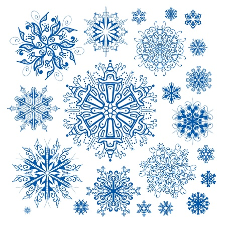 Christmas snowflakes decoration vector collection Illustration