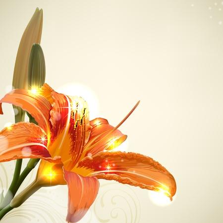lily flower: Lelie bloem abstracte vector achtergrond, trouwkaart template