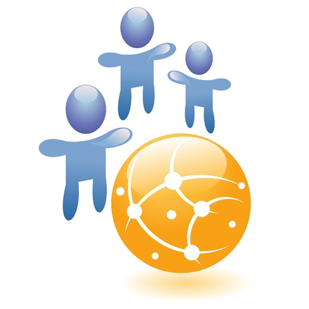 community service: Concept connection vector symbol, abstract people together with hands up, graphic social network icon or friend group internet community Illustration