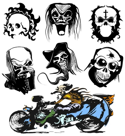 Skull motorcycle graffiti vector art  Vector