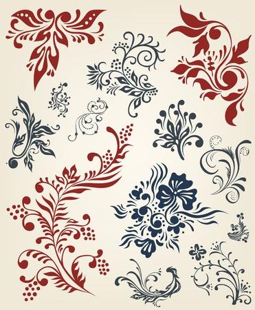 victorian fashion: Ornament floral vector elements  Illustration