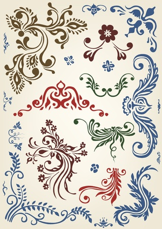Ornament floral vector elements  向量圖像