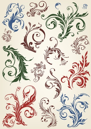 flores vintage: Ornament floral vector elements  Illustration