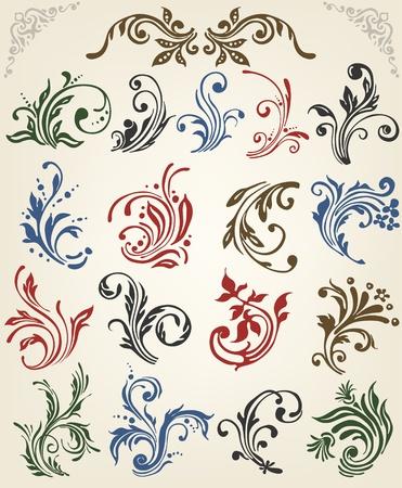 floral vector: Adorno de los elementos florales vector Vectores