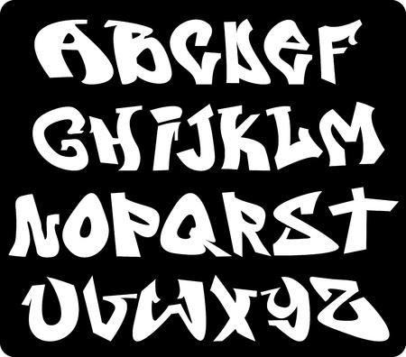 落書き: 落書きフォントのアルファベット、abc の手紙