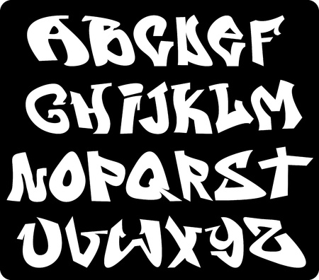 czcionki: Alfabet czcionki graffiti, litery abc Ilustracja