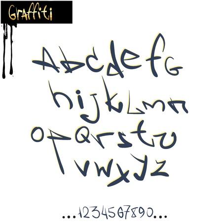 Graffiti font alfabet, abc brieven Stock Illustratie