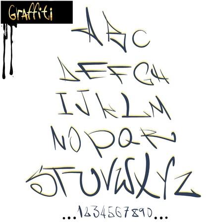 Graffiti font alphabet, abc letters Vector