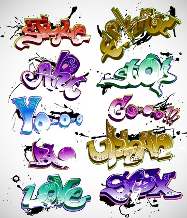 subculture: Graffiti urban art vector set Illustration
