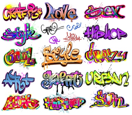 Graffiti urban art vector set Illustration