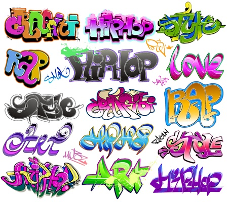 baile hip hop: Graffiti arte urbano conjunto de vectores Vectores