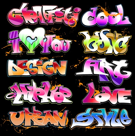 grafitti: Graffiti urban art vector set Illustration