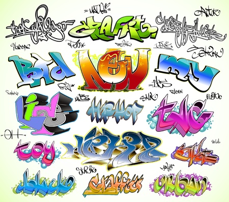 grafiti: Graffiti urban art vector set Illustration