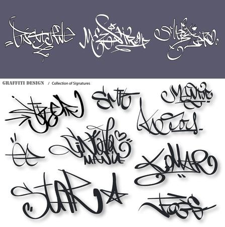 unlawful: Graffiti urbano etiquetas firma Vectores