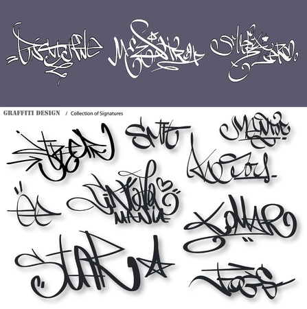 Graffiti urbano etiquetas firma
